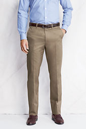 Men's Plain Front Traditional Fit Comfort Waist No Iron Dress Twill Trousers