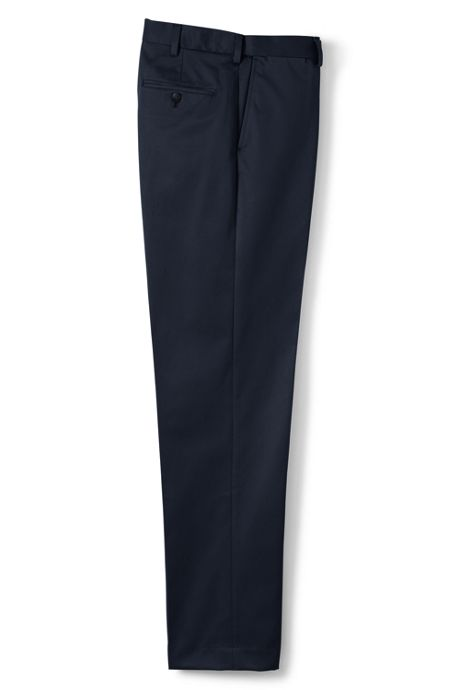 Men's Long Comfort Waist No Iron Twill Dress Trousers