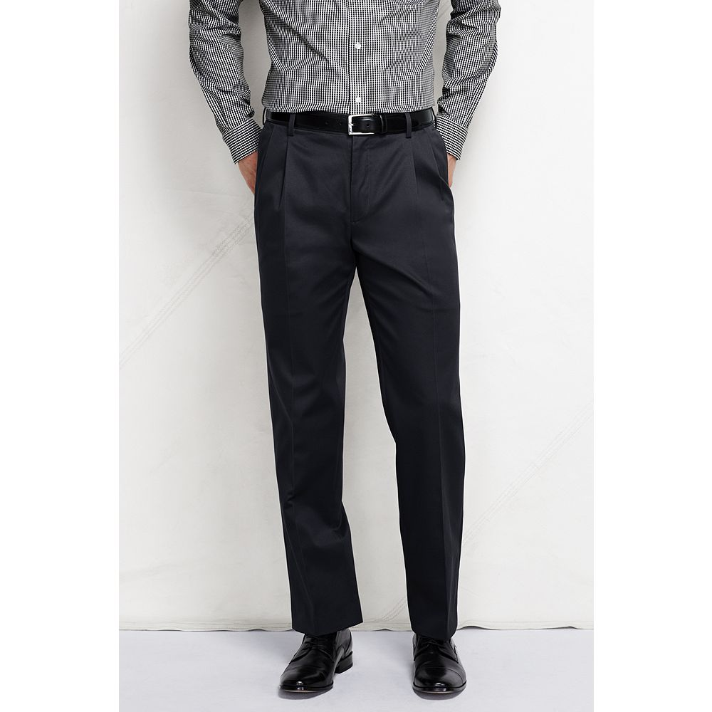Lands' End Men's Long Pleat Front Traditional Fit No Iron Twill Dress Pants