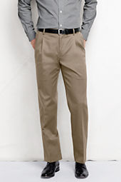Men's Pleat Front Traditional Fit No Iron Dress Twill Trousers
