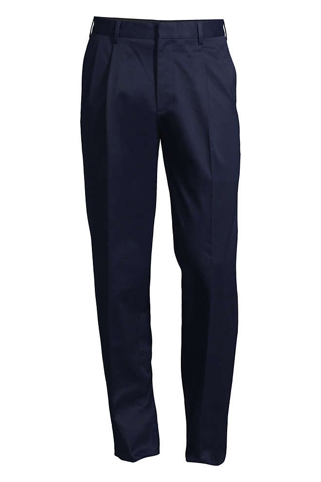 Men's Traditional Fit Pleated No Iron Twill Dress Pants, Front