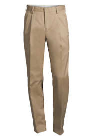 Men's Long Traditional Fit Pleated No Iron Twill Dress Pants