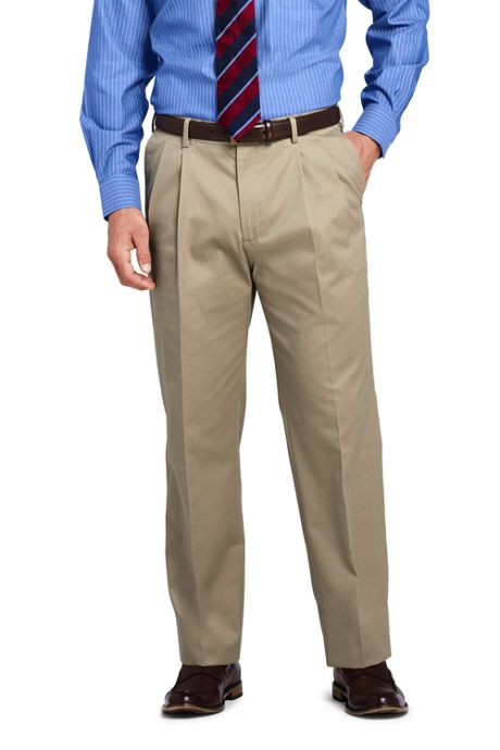 Men's Long Pleat Front Traditional Fit No Iron Twill Dress Pants