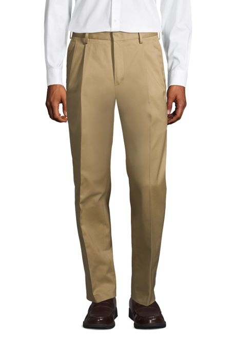 Men's Traditional Fit Pleated No Iron Twill Dress Pants