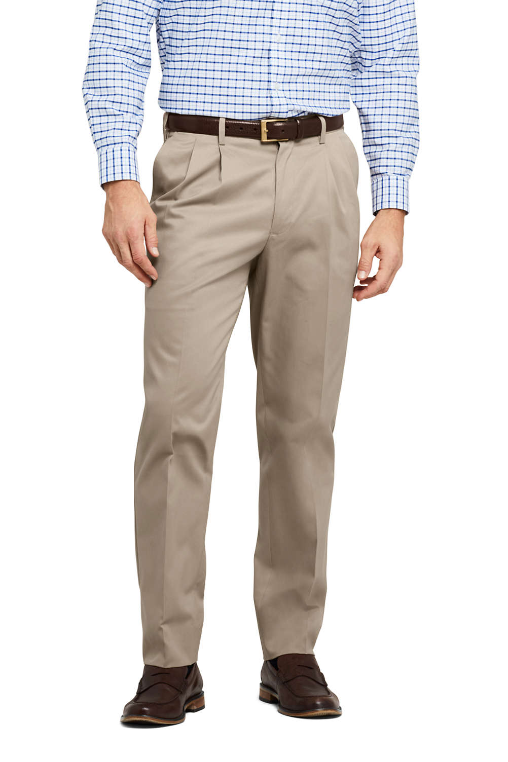 Men S Traditional Fit Pleat No Iron Twill Dress Trousers From Lands End
