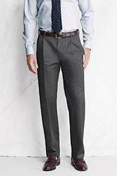 Men's Pleat Front Traditional Fit Comfort Waist No Iron Dress Twill Trousers