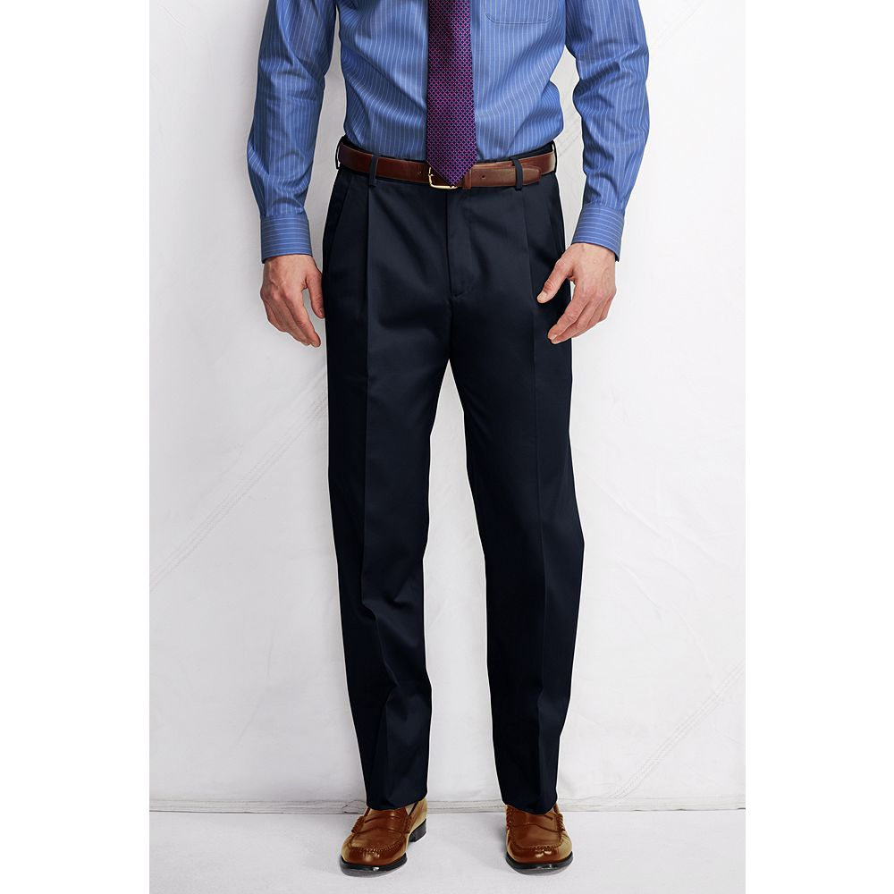 Lands' End Men's Big & Tall and Tall Pleat Front Comfort Waist No Iron Dress Twill Trousers at Sears.com
