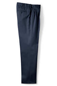 Men's Long Comfort Waist Pleated No Iron Twill Dress Pants