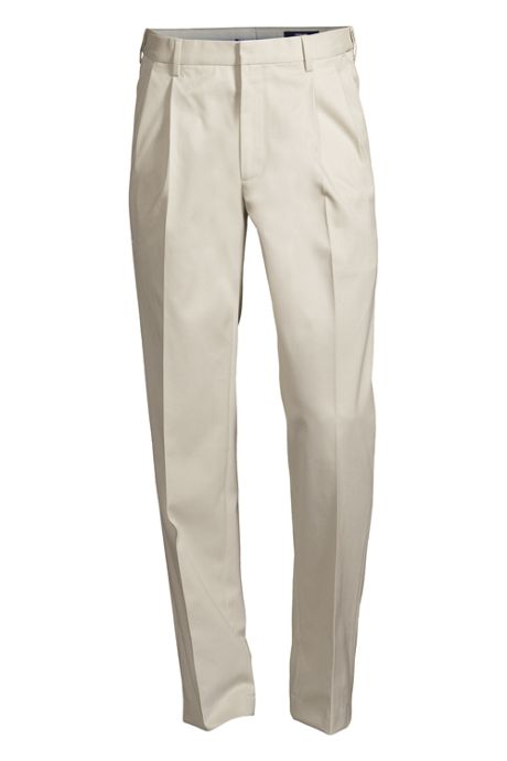 Men's No Iron Dress Twill Pleat Traditonal Comfort Waist Trousers
