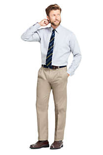 Men's Comfort Waist Pleated No Iron Twill Dress Pants, Unknown