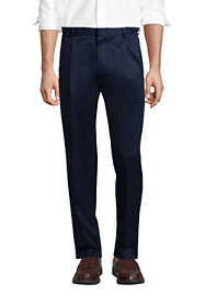 Men's Long Comfort Waist Pleated No Iron Twill Dress Pants