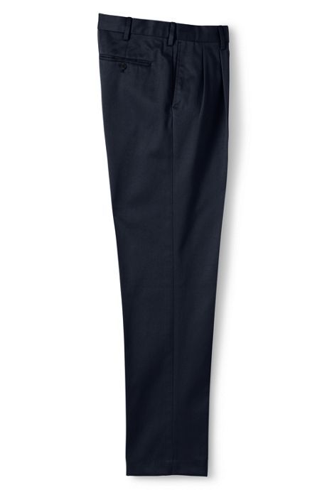 Men's Pleat Front Tailored Fit No Iron Twill Dress Pants