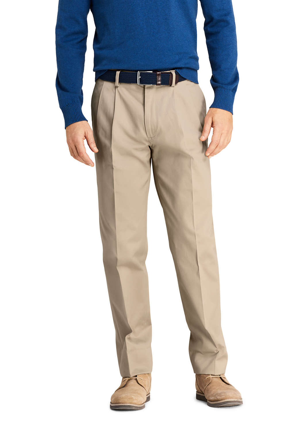 Men S Tailored Fit Pleat No Iron Twill Dress Trousers From Lands End