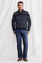 Stripe Cotton Button Mock Sweater 428125: Classic Navy