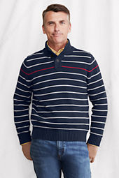 Men's Stripe Cotton Button Mock Sweater