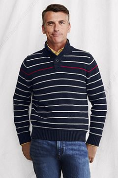 Stripe Cotton Button Mock Sweater 428125: Classic Navy