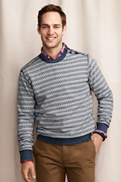 Men's Jacquard Button Shoulder Crew