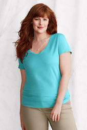 Women's Short Sleeve Fitted Lightweight Cotton Modal V-neck T-shirt