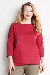 Women's Plus Size 3/4-sleeve Supima Boatneck Top