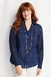 Women's Plus Size Eyelet Sleeve Splitneck Shirt