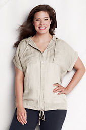 Women's Plus Size Short Sleeve Linen Hooded Shirt