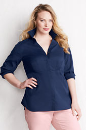 Women's Plus Size Roll Sleeve Hidden Placket Stretch Splitneck Tunic
