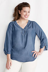 Women's Plus Size Roll Sleeve V-neck Indigo Tencel Tunic