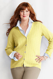 Women's Plus Size Fine Gauge Supima Baby Cable V-neck Cardigan