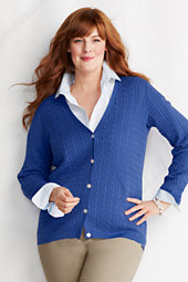 Women's Plus Baby Cable v-neck Cardigan