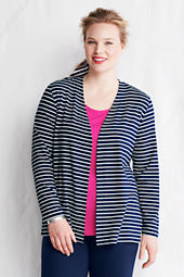 Women's Plus Size Long Sleeve Drape Jersey Stripe Cardigan