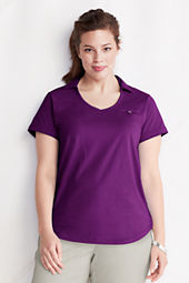 Women's Plus Size Short Sleeve Supima Collared V-neck Polo