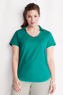 Women's Plus Supima Open Collar V-neck Polo