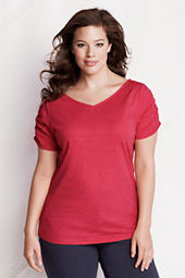Women's Plus Size Starfish Slub Jersey  Shirring Soft V-neck Top