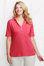 Women's Plus Size Elbow Sleeve Mesh Tipped Polo Tunic