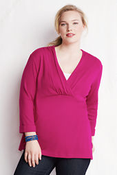 Women's Plus Size 3/4-sleeve 1X1 Drape Deep V-neck Tunic