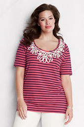 Women's Plus Size Elbow Sleeve Lightweight Cotton Modal Stripe Tunic