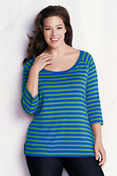 Women's Plus Size 3/4-sleeve 1x1 Drape Scoopneck Stripe Tunic