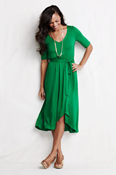 Women's Knit V-neck Tulip Dress