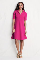 Women's Elbow Sleeve Fit Flare Polo Dress