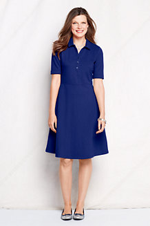 Women's Fit and Flare Piqué Polo Dress