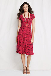 Women's Patterned Cotton Blend Square Neck Dress