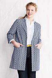 Women's Plus Size 3/4-sleeve Cotton Jacquard Jacket