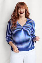 Women's Plus Size 3/4-sleeve Stripe Linen Cotton Knot V-neck Pullover