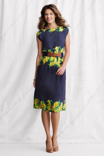 Women's Regular Woven Surplice-back Dress - Light Classic Navy Floral