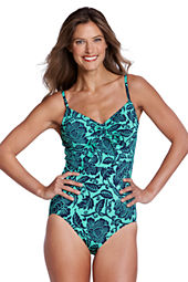 Women's Beach Living Bardot Floral Scoopneck One Piece Swimsuit with Tummy Control