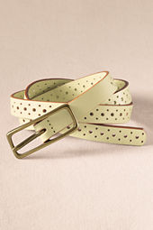 Women's Skinny Perforated Leather Belt