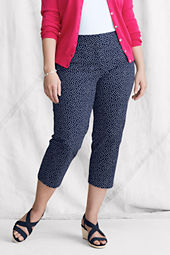 Women's Plus Size Coin Pocket Pattern Stretch Chino Crop Pants