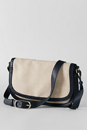 Women's Linen and Leather Lady Bag