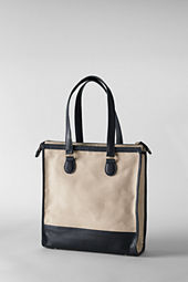 Women's Linen and Leather Tote