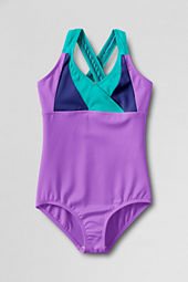 Girls' Smart Swim Colorblock Crossover One Piece Swimsuit